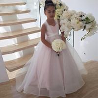 ingrosso i vestiti dei bambini vestono il colore rosa chiaro-New White Light Pink Cross Strap Flower Girls Abiti per Wedding Wave Point Ball Gown Ragazze Prom Dress Puffy Tulle Kid Pageant Gown