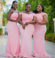 Wholesale mermaid style wedding dress pleats resale online - Cheap Pink African Off The Shoulder Mermaid Long Bridesmaid Dresses Mixed Style Lace Flowers Maid Of Honor Dress Wedding Guest Gowns Custom