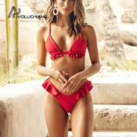 ingrosso vestito di bagno di colore rosso-Costume da bagno bikini brasiliano rosso con balze Costume da bagno bikini con balze a vita alta Bikini bicolore 2019 Mujer Monokini