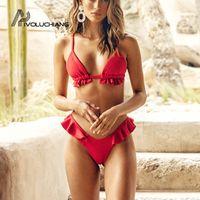ruffle de biquíni vermelho venda por atacado-Vermelho Ruffle Maiô Brasileiro Biquíni Push Up Swimwear Ternos De Banho De Cintura Alta Duas Peças Mulheres Bikinis 2019 Mujer Monokini