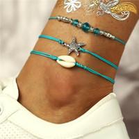 ingrosso bracciali in pelle di caviglia-Summer Beach Starfish Shell Charm Corda stringa Cavigliere per le donne Cavigliera Bracciale Sandali in pelle Catena piede gioielli 3pcs / set