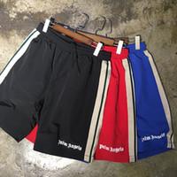 ingrosso nastro di rete a rete-19ss Summer Palm Angels Shorts Uomo Donna Streetwear Shorts in rete a rete di alta qualità con coulisse Ribbon Stretch Palm Angels
