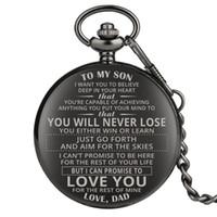 relojes chinos unisex al por mayor-Creative Design personalizada reloj de bolsillo A MI cadena del análogo de cuarzo colgante del hijo del papá marido masculino regalo de Navidad para hombre reloj de bolsillo