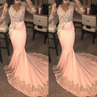 Wholesale peach mermaid dress ruffles resale online - African Peach Mermaid Prom Party Dresses Sexy Sheer Lace Appliques Evening Gowns Sweep Train Cheap Formal Vestidos