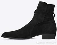 rahat mid buzağı botları toptan satış-Sıcak En Yeni Süper Star Erkekler gerçek deri Batı Kovboy Çizme Casual Erkek Ayakkabı Sonbahar Ortası buzağı Motosiklet Boots Ayakkabı Erkekler Botaş