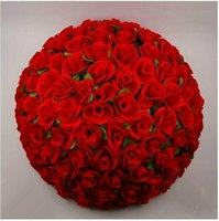 dekoratif bilyalar toptan satış-40 cm 16 inç Zarif beyaz Yapay Dekoratif Ipek Çiçekler Öpüşme Gül Topu DIY Craft Süs Düğün Dekorasyon Malzemeleri Için