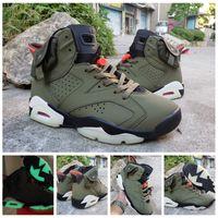 jel spor ayakkabıları toptan satış-Yeni Spor Spor Ayakkabılar 6s Koyu 3M Yansıtıcı Yeşil Ordu Men Tasarımcı Basketbol Shoes Travis Scotts 6 OG Cactus Jack Glow Geldi