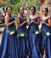 marineblaues arabisches kleid großhandel-African Arabic Navy Blue Satin Lange Brautjungfernkleider Schulterfrei A Line Side Split Trauzeugin Hochzeitsgast Party Brautjungfern Kleid