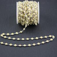 runde lampwork glasperlen groihandel-6mm, hellgelbes Lampwork Glas flache runde Münze Form Perlen, Draht gewickelt Silber überzogene Ketten Links, 5Meters