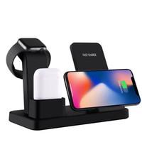 iphone watch dock toptan satış-3 in 1 Kablosuz Şarj Standı Q12 iphone Qi Için Airpods Için Kablosuz Şarj Dock Hızlı Kablosuz Şarj Için Apple İzle 3 4 Perakende Paket