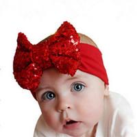 vender cintas para el bebé al por mayor-Más vendidos Lovely Kids Girls Lentejuelas Bowknot Bow Diadema Bebé Hairband Bow Head Wraps Accesorios para el cabello Sombreros para niñas
