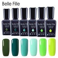 unhas verdes uv gel polonês venda por atacado-Belle Fille Esmalte Gel Polonês Série Verde Laca UV Manicure Maquiagem Nail Art Design Verniz de Azeitona Polonês Gel UV