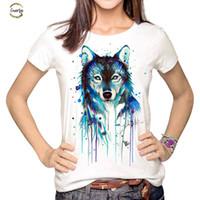 ingrosso maglia della donna del lupo-T camicia scura Donne Lupo girocollo Multi Harajuku stampato Tumblr Tee Shirt Tops Blusa Donne Wmt259