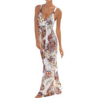 vestidos de resort para mujeres al por mayor-CHAMSGEND2019 Verano con cuello en v de las mujeres Sling Beach Vestido Seaside Resort Beach Vestido Casual Slim Elegante trapear falda