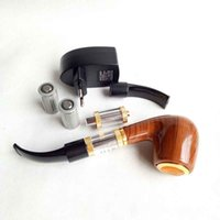 Wholesale 618 e pipe resale online - metal E pipe Health Smoking Pipe Electronic Cigarette E Pipe Imitate Solid Wood Design Pipes With Best Top grade Package Set
