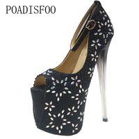 779dda96ecef0c Chaussures de marque Designer POADISFOO Femmes Sexy Pompes Ultra-haute  Stiletto 20cm Strass Sexy T Femme Cristal 43 Grande Taille Poisson  MJL-6678-11
