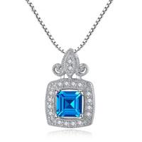 925 colgantes de plata topacio azul al por mayor-Gran piedra de lujo de las mujeres 925 joyería fina de plata esterlina 6 * 6 mm Princess Cut London Blue Topaz collar colgante envío de la gota