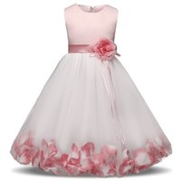 Wholesale costumes for teenagers online - Elegant Flower Girl Dress For Pageant Party Wedding Tulle Outfits For Girls Chlidren s Costume Teenager Floral Prom Gown For