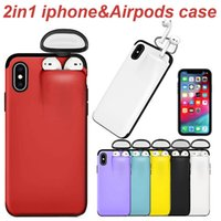 Wholesale iphone earphones red resale online - Plastic TPU Pone Case with Airpods Wireless Earphone Holder for iPhone Pro Max XS XR Plus in