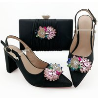 Wholesale african shoes matching handbags for sale - Group buy High quality black women dress shoes with big crystal decoration african pumps match handbag set QSL010 heel CM