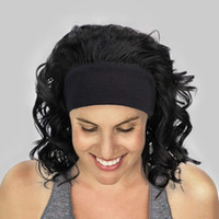 Wholesale curly wigs headbands for sale - Group buy Short curly Hair Half Headband Wigs For Women Fluffy Curly Black Mix Brown fake Shoulder Length Synthetic Wigs