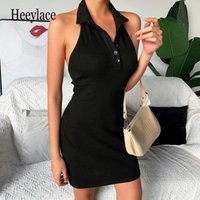 Wholesale polo bag woman for sale - Group buy Summer Women Dress Open Back Tight Temperament Solid Color Bag Hip Fashion Polo Collar Beautiful Back Sexy Dresses Female