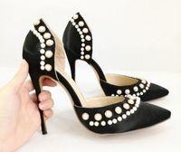 ingrosso scarpe da sera in raso nero-2019 Nuove donne tacchi alti perla bianca tacco sottile pompe di perle scarpe da festa in raso nero pompe scarpe abito scarpe da sposa tacco 12 cm