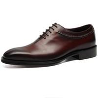 3d13507aa03 CLORISRUO Hecho a mano Negro / Marrón Marrón Niños Novio Zapatos Oxfords  Zapatos de boda para hombre Vestido de cuero genuino Hombre italiano Busine