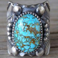 gümüş oval ring erkek toptan satış-Vintage Bohemian Turquoises Yüzükler Kadın Erkek Tibet Çiçek Kuyruk Antik Gümüş Kaplama Oval Taş Parmak Yüzük Hediye O5x747