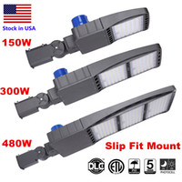 LED Parking Lot Lights 5000K LED Street Pole Light Flood Light (with Photocell) Brown IP65 Commercial Light Round Polo Slip Fit Mount