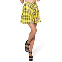 saias plissadas amarelas venda por atacado-Atacado- 2017 hot mulheres busto calções saias de tênis saias plissadas plus size saias de xadrez amarelo de fitness vintage bonito curto saias s l bsq03