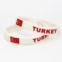 Wholesale bangle turkey resale online - 1PC Hot Sale Fashion Football Sports Silicone Wristband Turkey Flag Rubber Bracelets Bangles Gifts SH225