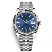 красивые стальные наручные часы оптовых-Горячие мужчины роскошные часы Топ AAA 41 мм Datejust стальной синий циферблат механические автоматические Марка Reloj бизнес мода президент Desinger наручные часы