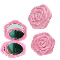 klasik kompakt kozmetik toptan satış-Vintage 3D Gül Çiçek 2 Taraflı Kozmetik Kompakt Ayna Makyaj Parti Cep Boyu