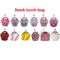 Wholesale lunch bags for sale - Lily baseball lunch bags tote printed Neoprene Lunch Box mermaid outdoor travel Picnic Lunch Zipper storage Bag FFA1773