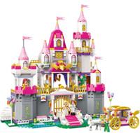 jouets maison de filles achat en gros de-Blocs de lumières villa de ville des lumières blocs 5-8 ans fille assemblée jouet maison de princesse orthographié dans le modèle du château