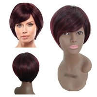 женские парики красные оптовых-Fashion Short Wig Front Wavy Black Womens Red Synthetic Soft Wigs Rose Net Hot High-temperature Synthetic fiber Wigs