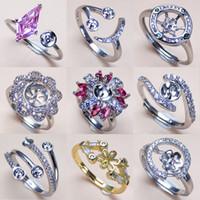 anéis em branco ajustáveis em prata venda por atacado-Anéis de pérolas Configurações Anel de Zircão Anel de Prata 925 Ajustes Anel para Mulheres Menina Ajustável Em Branco DIY Presente Da Jóia