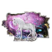 Wholesale modern decor pieces resale online - Unicorn Horse Forset Wall Stickers Creative d Break The Wall Effect Picture Setting Sticker Decorative Kids Nursery Decor Decal
