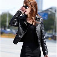 ingrosso rosso corto e giacche in pelle-Vendita calda 2019 nuove donne primavera autunno giacca nero / rosso moda femminile cappotto Slim PU pelle breve giacca outwear più dimensioni