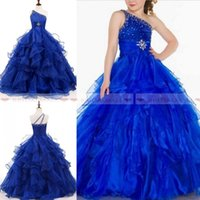 Wholesale beauty pageants online - 2019 Royal Blue Crystals Organza Girls Pageant Dresses For Beauty Little Kids One Shoulder Beading Ball Gowns Flowers Girls Graduation Dress
