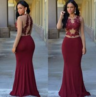 Wholesale evening dress burgundy elastic satin for sale - Group buy Burgundy Sheer Long Sleeves Mermaid Formal Evening Dresses African Jewel Lace Appliques Modest Arabic Prom Party Gowns For Woman