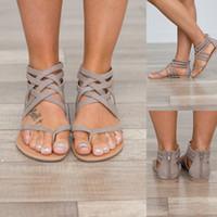 34 taille chaussure romaine achat en gros de-2019 Chaussures D'été Chaussures Femmes Sandales Appartements Européenne Rome Sandales Gladiateur Femmes Plus La Taille 34-43 Sandalia Feminina Lady