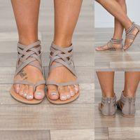 zapato de roma tamaño 34 al por mayor-2019 Zapatos de verano Sandalias de mujer Pisos Europeo de Roma Sandalias de gladiador Más del tamaño 34-43 Sandalia Feminina Señora