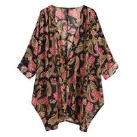 camisa longa comprida feminina venda por atacado-Mulheres Camisas Blusas Mulher 2019 Womens Casual Floral Imprimir Manga Longa Chiffon Cardigan Solto Blusa de Quimono Tops roupas feminina