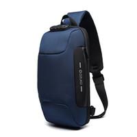 brust herren tasche großhandel-Die neue Brusttasche von Ozuko für Herren USB-Lade-Diebstahlsicherung Schultertasche Lässige, abnutzungsresistente Umhängetasche Wasserdichte Oxford-Outdoor-Brusttasche