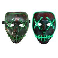indoor neonlichter großhandel-Led Maske Halloween Party Masque Maskerade Masken Neon Maske Licht im Dunkeln leuchten Mascara Horror Maska Glowing Masker