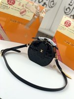 bolsos de charol negro al por mayor-Negro M44699 M68276 nuevo bolso de hombro único de charol redondo correa de hombro desmontable de alta calidad tamaño 13 * 12 * 6.5 cremallera cruzada diagonal