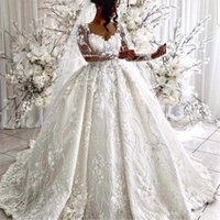 vestidos de noiva mangas bufantes venda por atacado-Vestido de baile vestidos de casamento 2019 decote feitas à mão Flores Flores 3D manga comprida Puffy Trem da varredura Vestidos de noiva