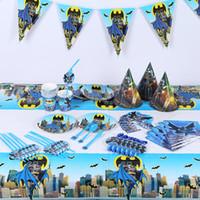 juegos de servilletas al por mayor-145 pc / lot 10 niños Party Set vajilla Plato Servilletas bandera cuchillo sombrero Feliz cumpleaños Tenedores Baby Shower decoración del partido